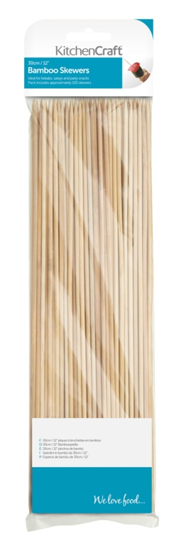 KitchenCraft Bamboo Skewers 100 Piece - 30cm