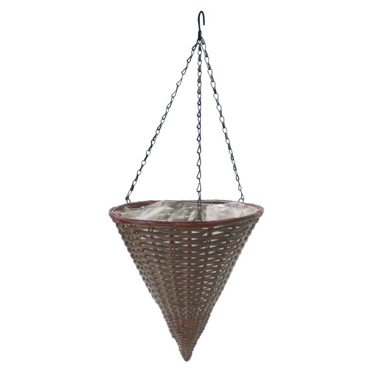 """Ambassador Brown Rattan Hanging Cone - 14"""""""