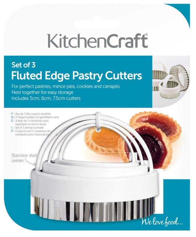 KitchenCraft Fluted Pastry Cutter - 3 Piece