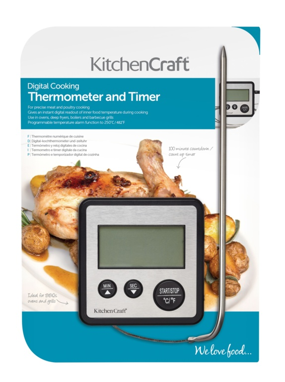 KitchenCraft Digital Cooking Thermometer And Timer - Black