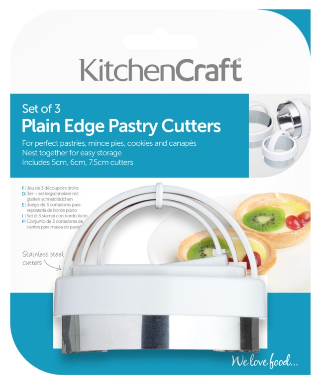 KitchenCraft Plain Pastry Cutters - 3 Piece
