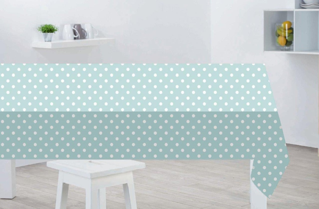Sabichi PVCTable Cloth - Duck Egg Polka Dot