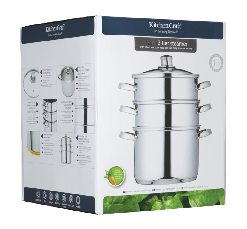 KitchenCraft 3 Tier Stainless Steel Steamer - 22cm
