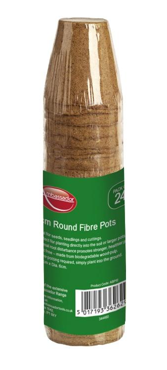 Ambassador Round Fibre Pots - 6cm - Pack 24