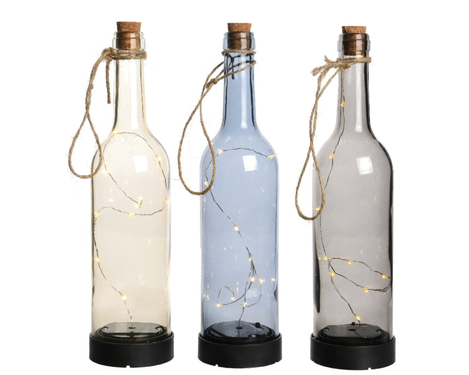 Lumineo Micro LED Solar Bottle Warm White - 3 Assorted Designs