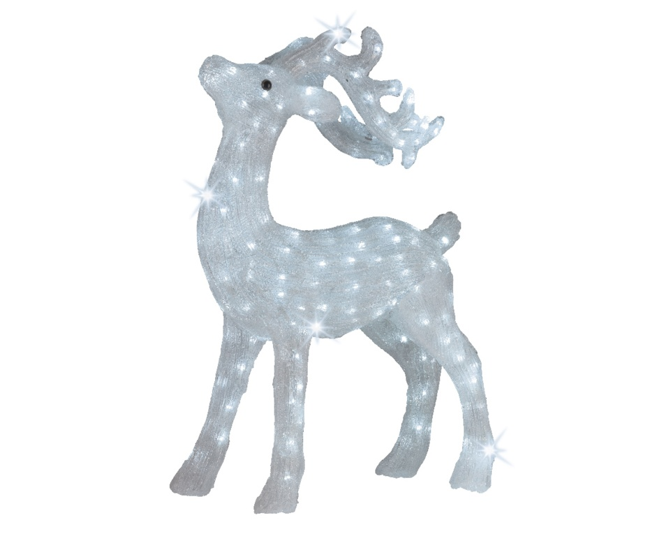 Kaemingk LED Acrylic Deer With Flashing Lights - Cool White