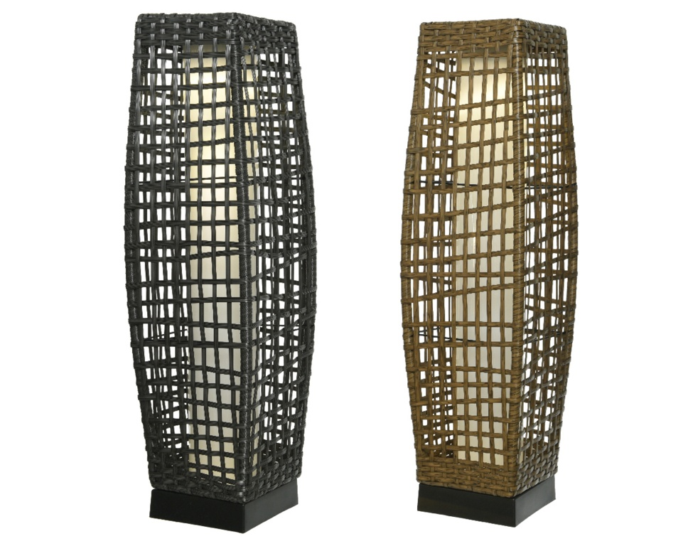 Lumineo LED Solar Brown Wicker Lantern - 68cm
