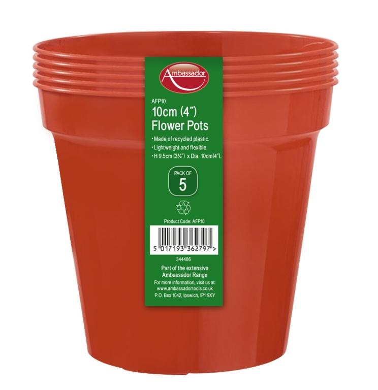"""Ambassador Flower Pots - 4"""" - Pack 5"""