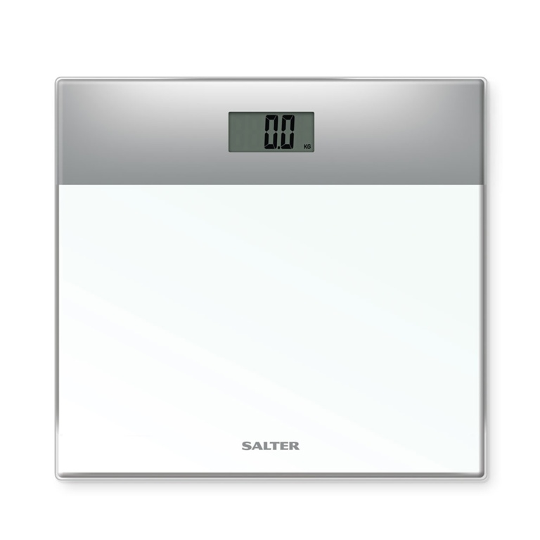 Salter Glass Electronic Scale - White/Silver
