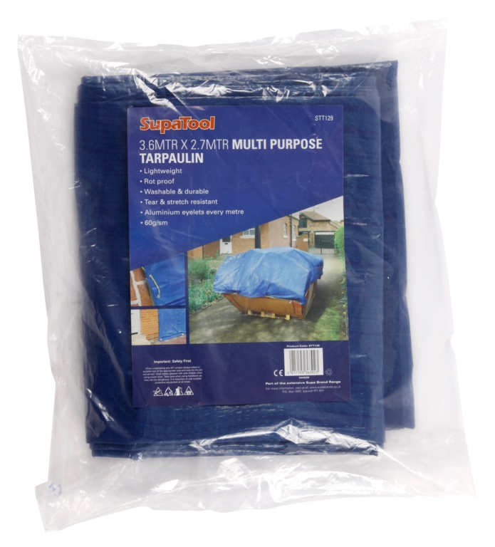 SupaTool Multi Purpose Tarpaulin Blue - 3.6m x 2.7m