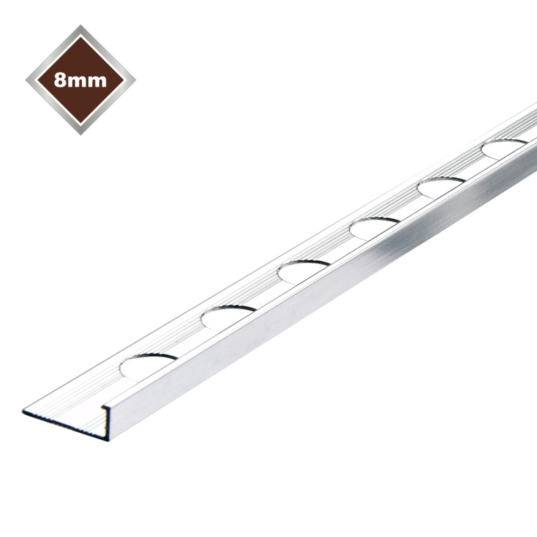 Tile Rite 8mm L Profile Metal Tile Trim - Chrome 8mm x 2.4m