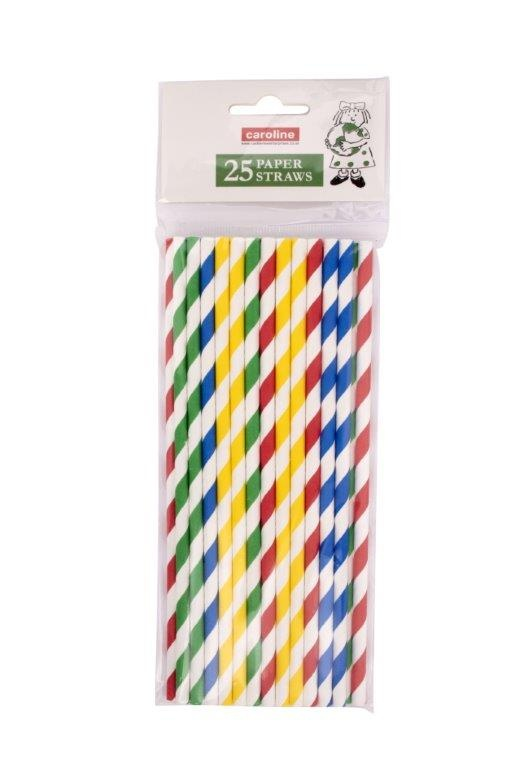 Castleview Multi Colour Striped Paper Straws - Pack 25