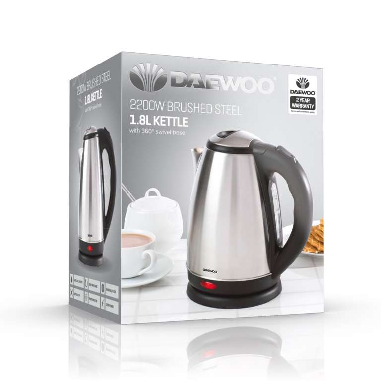 Daewoo Brushed Steel Kettle 2200w - 1.7L