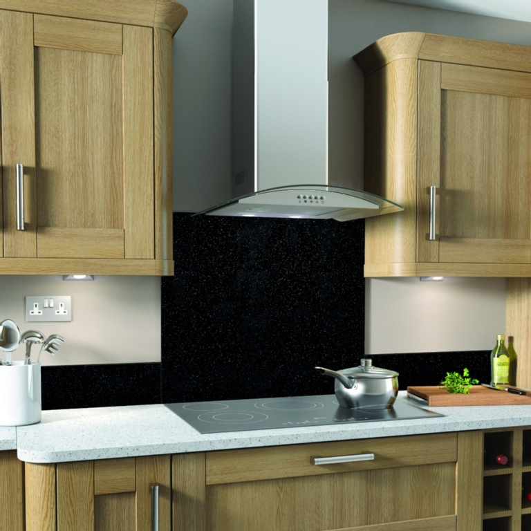 SP Glass Splashback 600 x 750mm - Black Galaxy