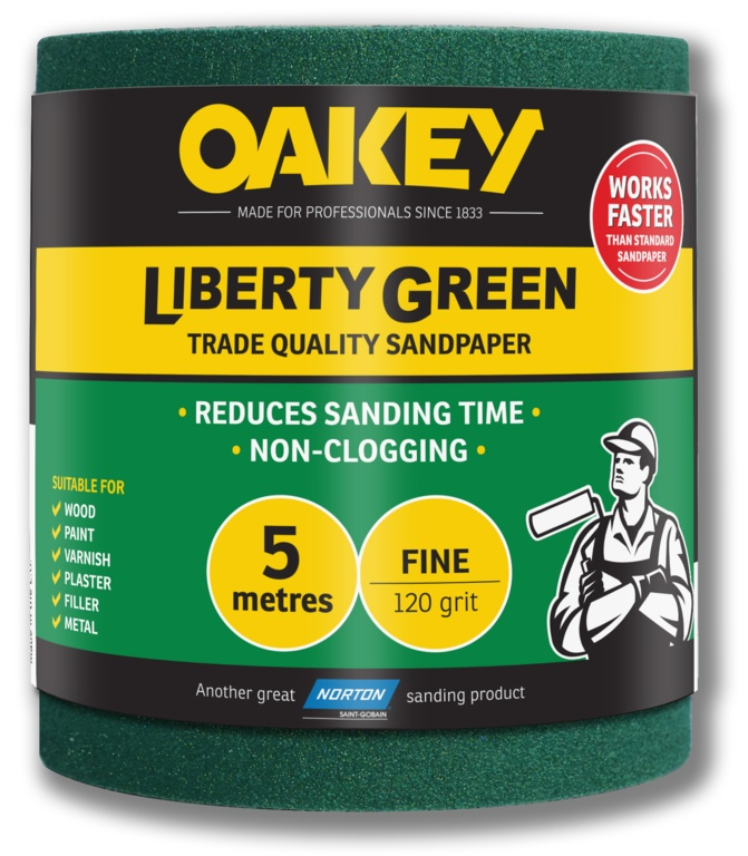 Oakey Liberty Green Sanding Roll 5m - Fine 120g