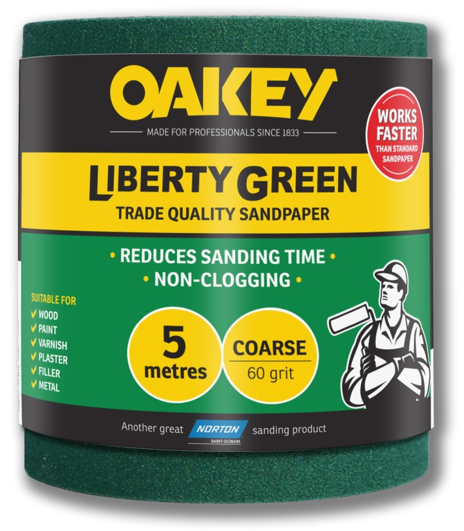 Oakey Liberty Green Sanding Roll 5m - Coarse 60g