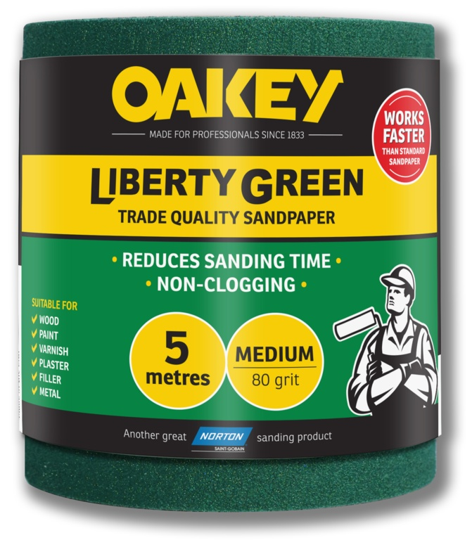 Oakey Liberty Green Sanding Roll 5m - Medium 80g