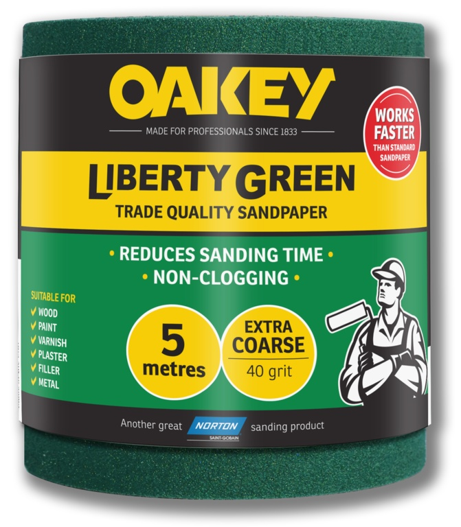 Oakey Liberty Green Sanding Roll 5m - Extra Course 40g