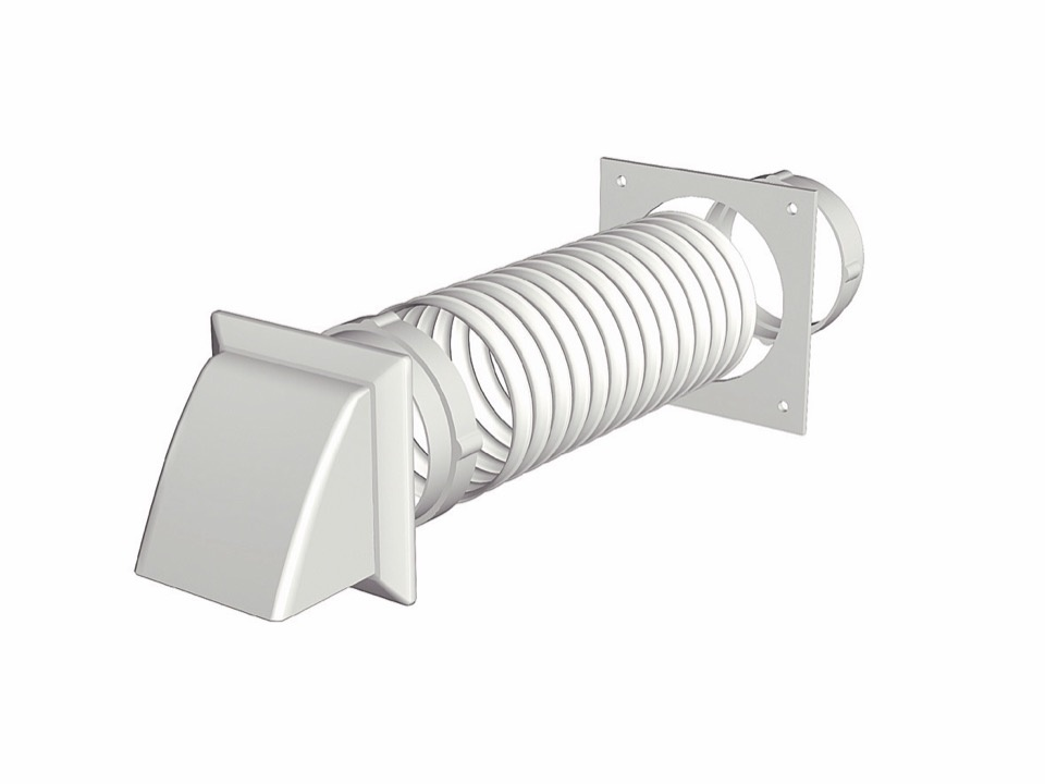 Make Tumble Dryer Extraction Kit - Cowled White - 125mm