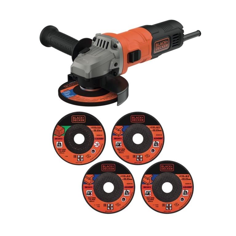 Black & Decker 710w Angle Grinder & 5 Discs