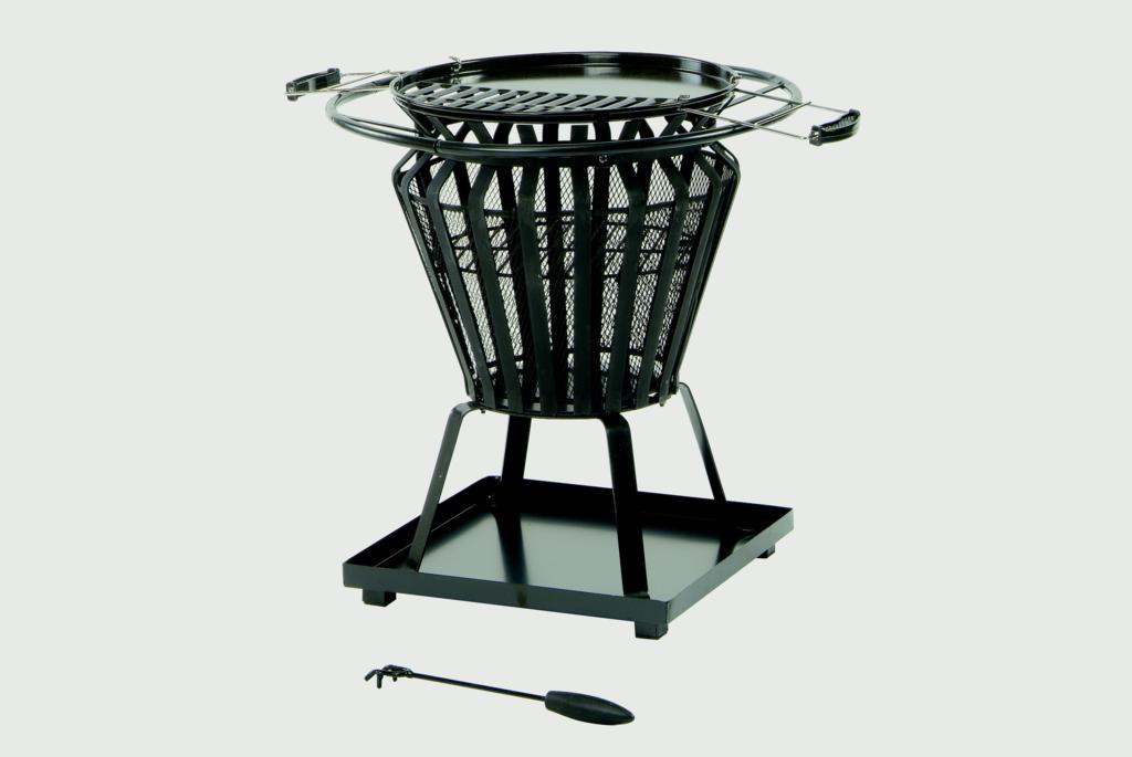 Lifestyle Signa Steel Basket With Fire Pit BBQ - Black steel basket frame work