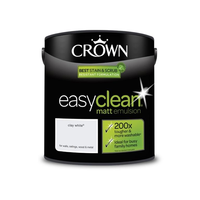 Crown Easyclean Matt Emulsion - 2.5L Clay White