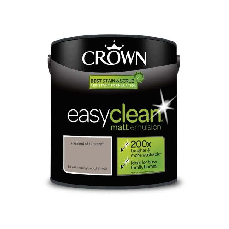 Crown Easyclean Matt Emulsion - 2.5L Crushed Chocolate