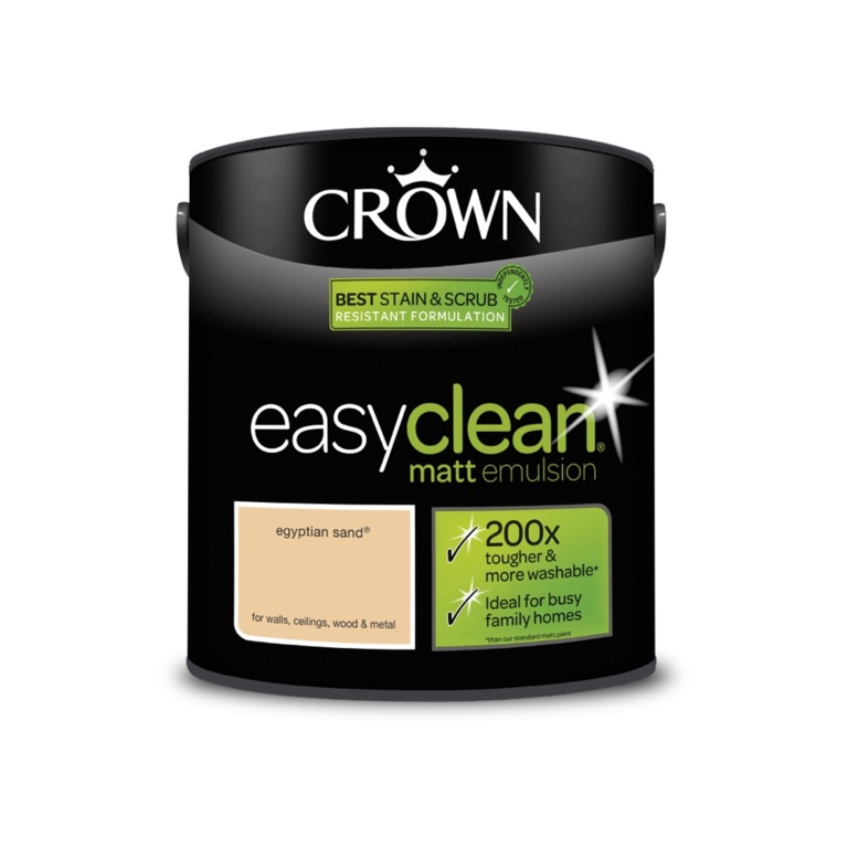 Crown Easyclean Matt Emulsion - 2.5L Egyptian Sand