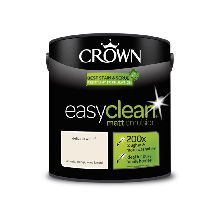 Crown Easyclean Matt Emulsion - 2.5L Delicate White