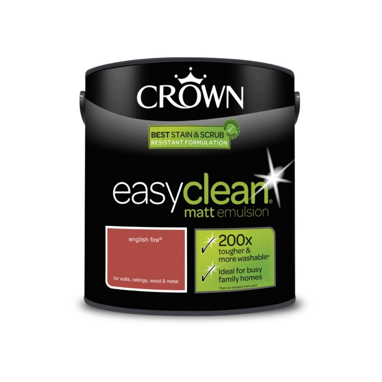 Crown Easyclean Matt Emulsion - 2.5L English Fire
