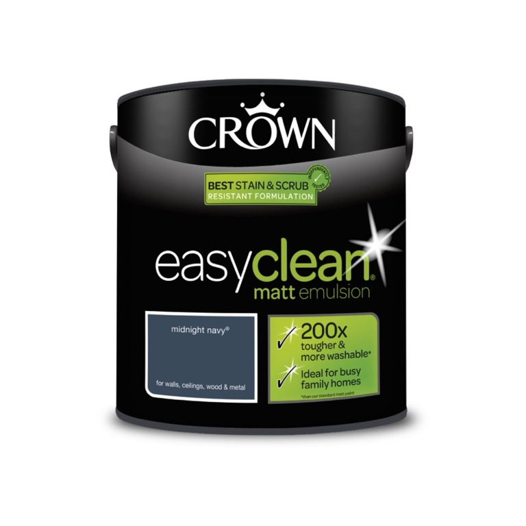 Crown Easyclean Matt Emulsion - 2.5L Midnight Navy