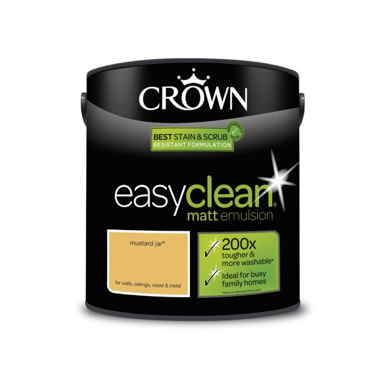 Crown Easyclean Matt Emulsion - 2.5L Mustard Jar