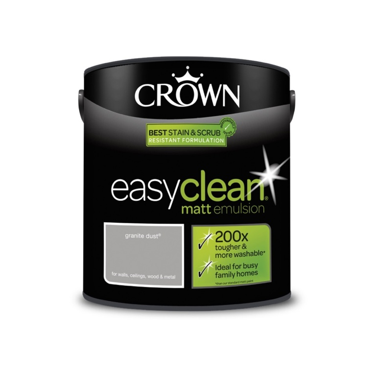 Crown Easyclean Matt Emulsion - 2.5L Granite Dust