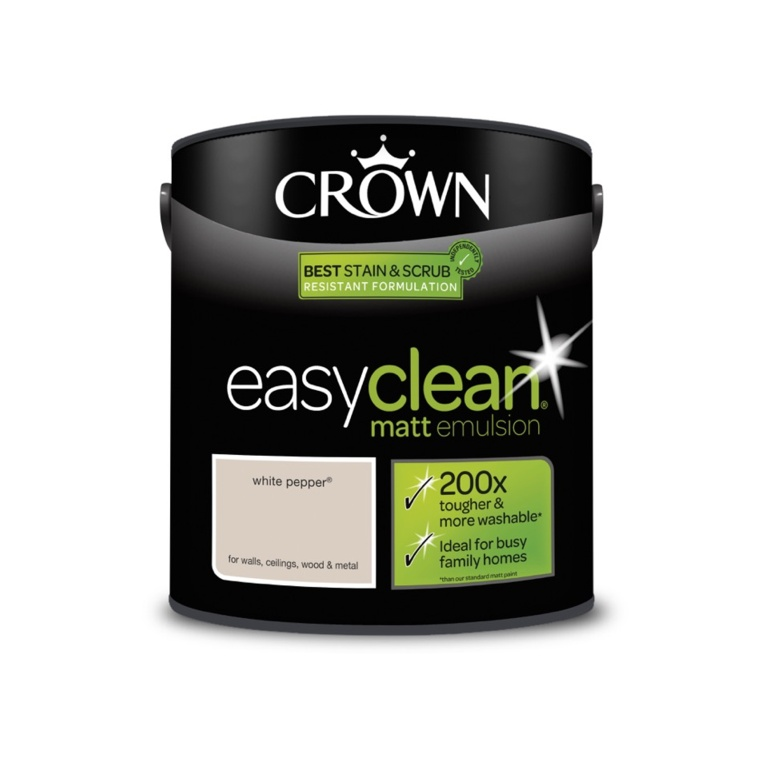 Crown Easyclean Matt Emulsion - 2.5L White Pepper