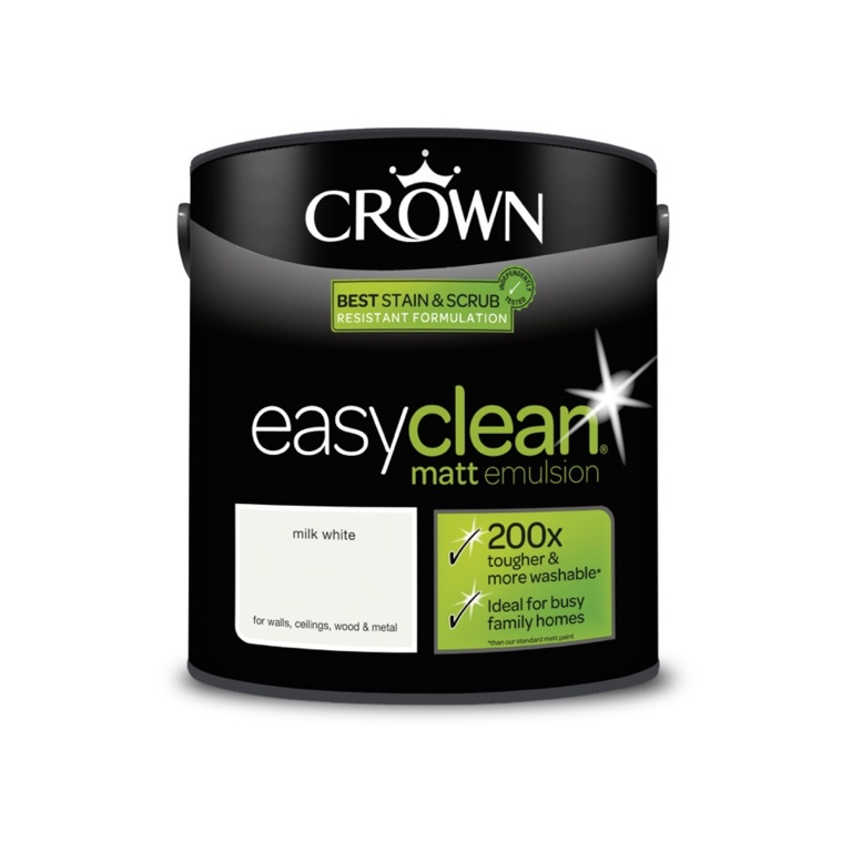 Crown Easyclean Matt Emulsion - 2.5L Milk White