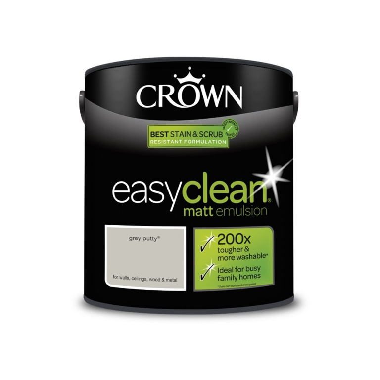 Crown Easyclean Matt Emulsion - 2.5L Grey Putty