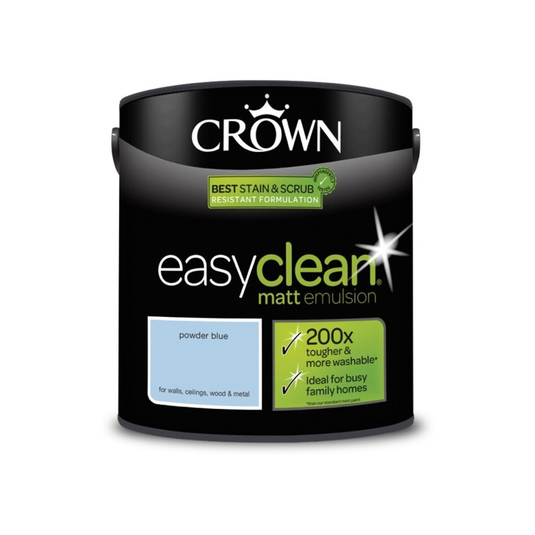 Crown Easyclean Matt Emulsion - 2.5L Powder Blue