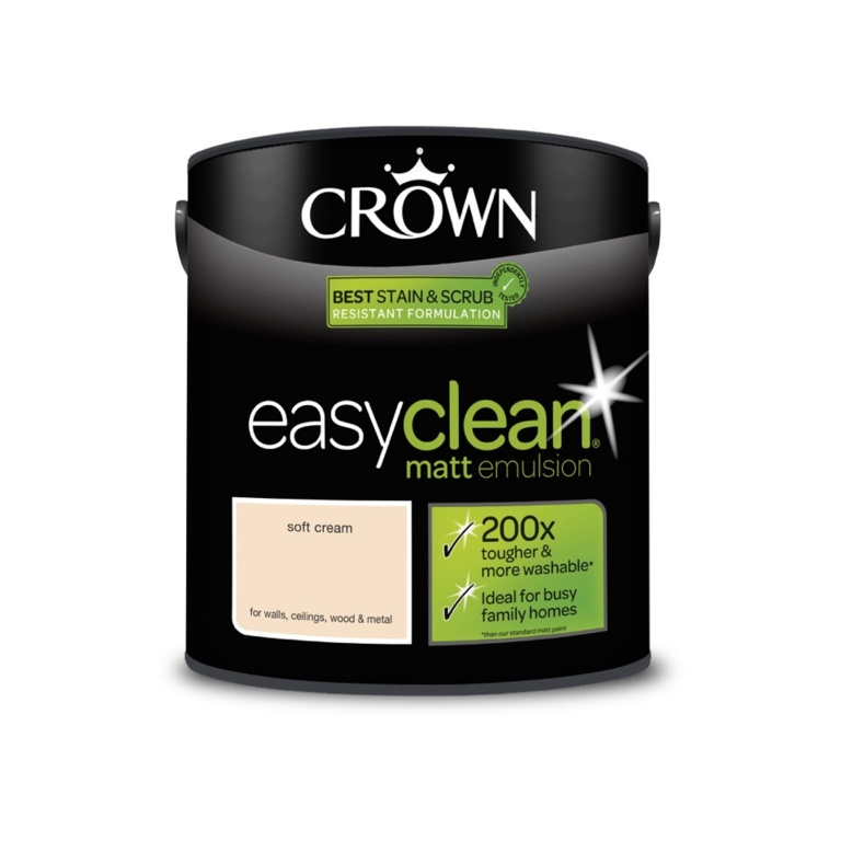 Crown Easyclean Matt Emulsion - 2.5L Soft Cream