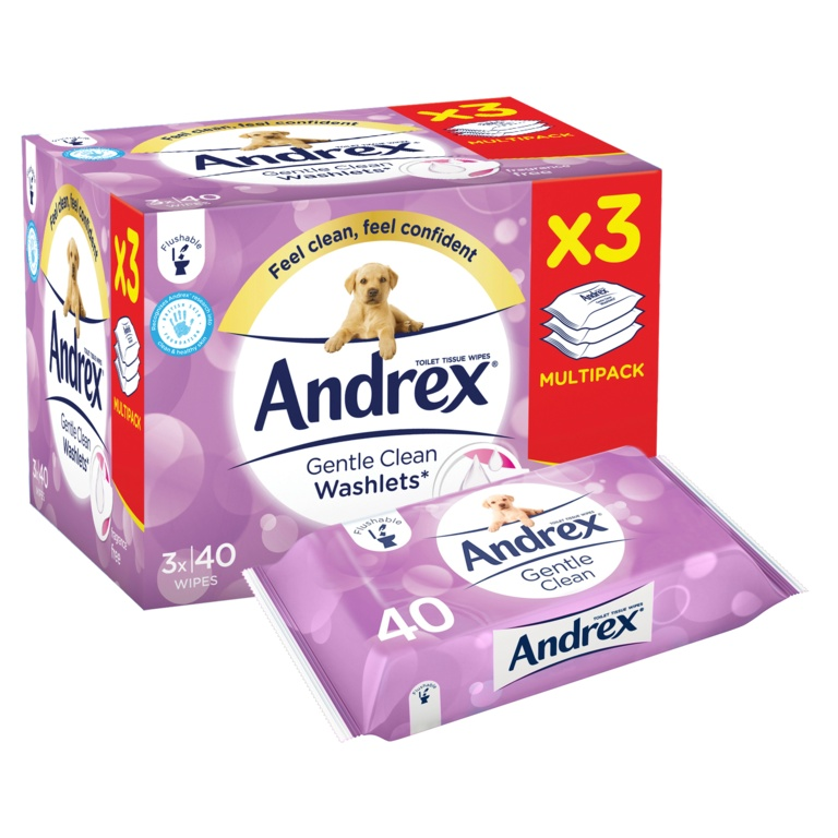 Andrex Gentle Clean Washlets - 3 Pack
