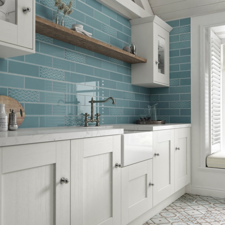 Johnson Tiles Gloss Wall Tiles 200 x 100mm 1m2 - Marine