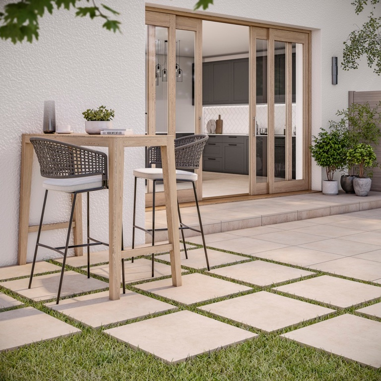 Verona Ascot Ivory Outdoor Porcelain Tile 600 x 600 x 20mm - 0.72m2