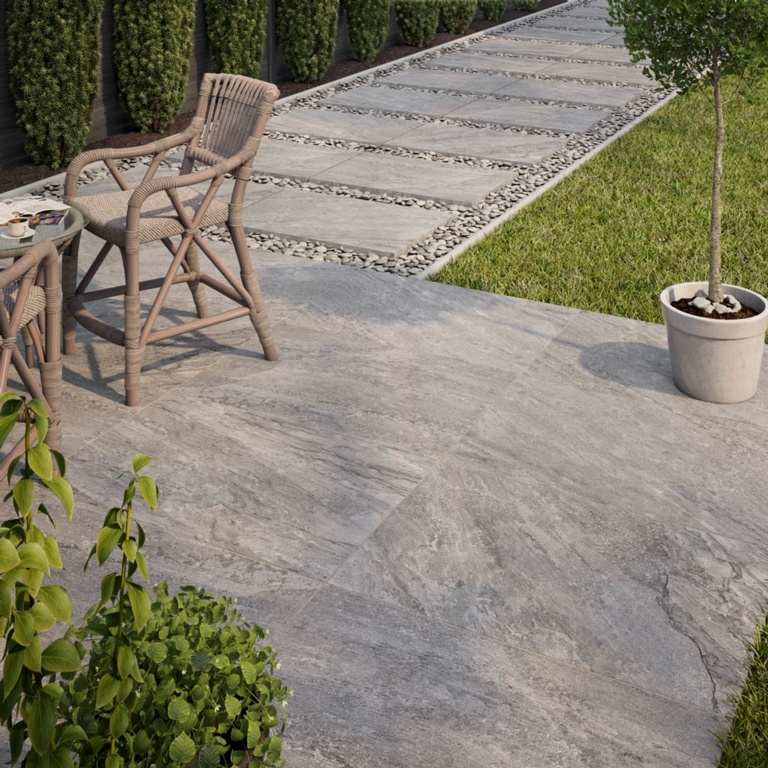 Verona Barrington Grey Outdoor Porcelain Tile 600 x 900 x 20mm - 1.08m2