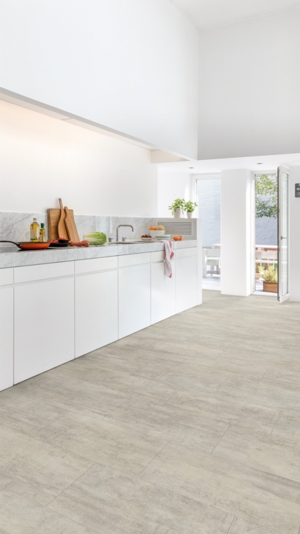 Quickstep Light Grey Travertine Tile 2.08m2 - 1300 x 320 x 4.5mm Plank Size