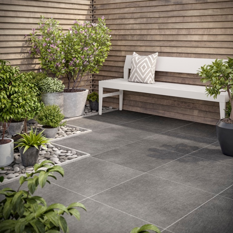 Verona Emmett Black Outdoor Porcelain 600 x 600 x 20mm - 0.72m2