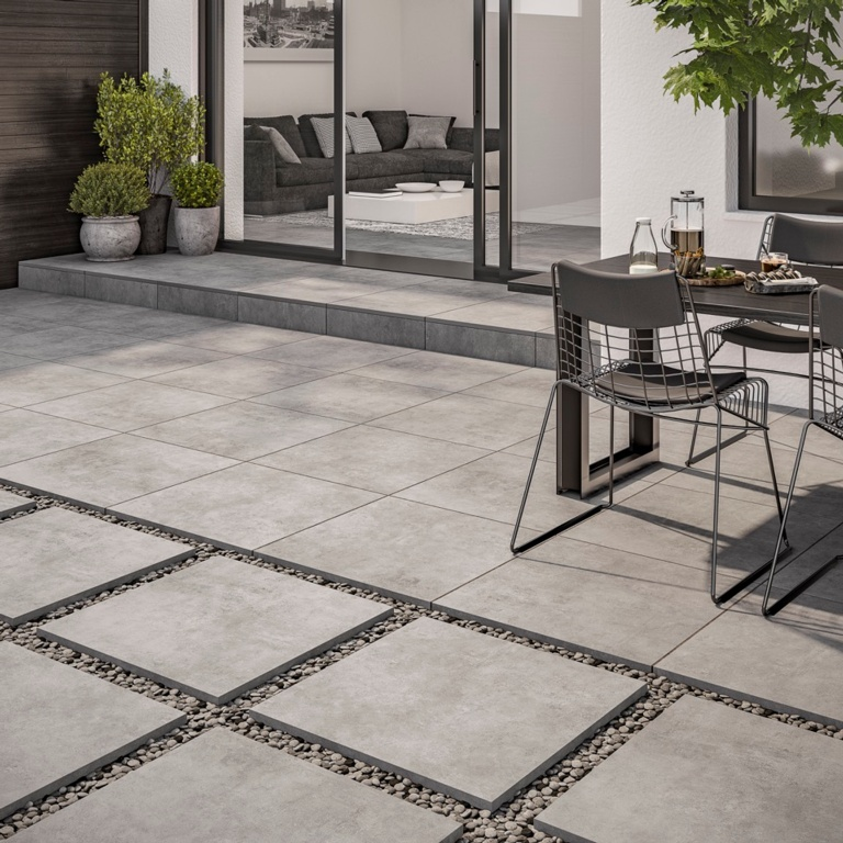 Verona Ascot Silver Outdoor Porcelain Tile 600 x 600 x 20mm - 0.72m2