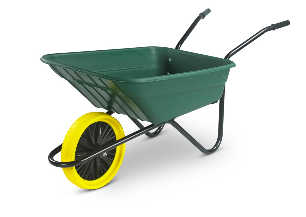 Walsall Wheelbarrow The Shire Green Poly Barrow - 90L