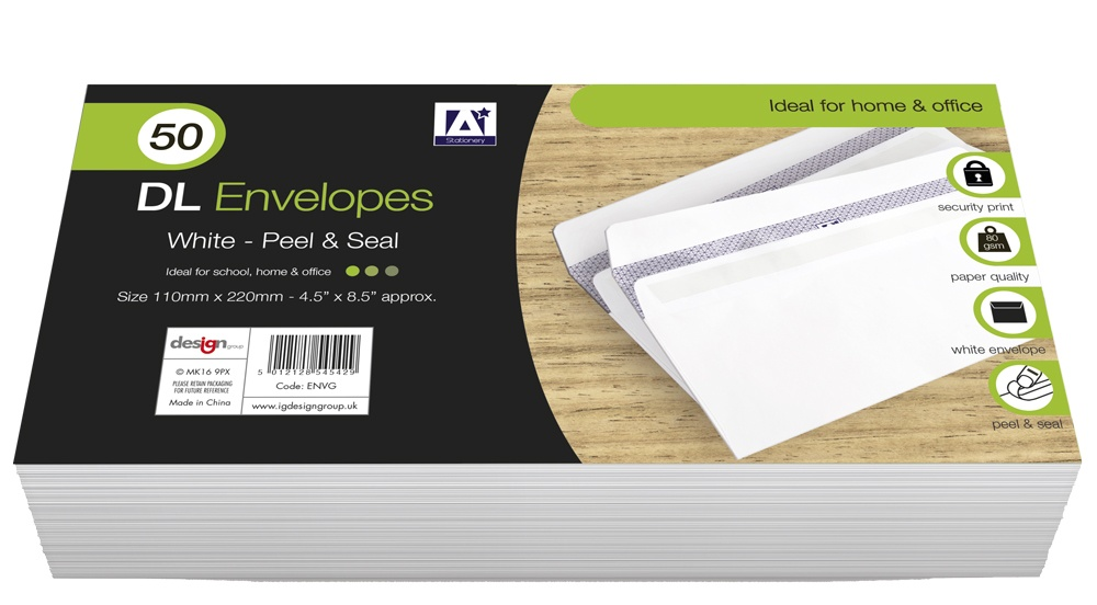 Anker DL Peel & Seal Envelopes - Pack 50 White
