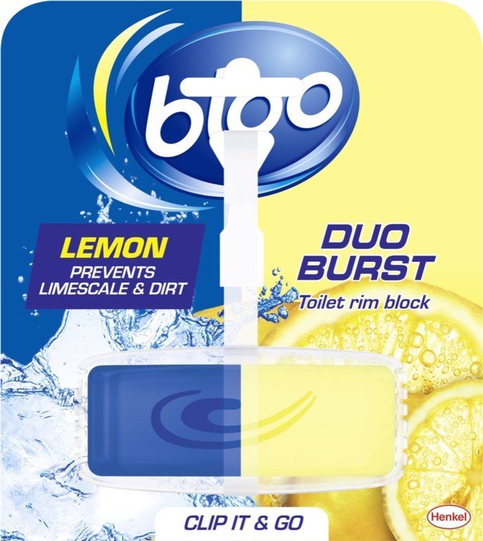 Bloo Duo Burst Toilet Rim Block - Lemon 40g