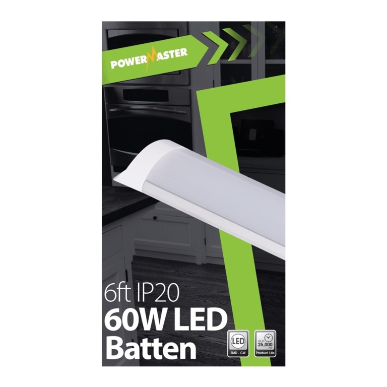 Powermaster LED IP20 Batten - 180cm 60w