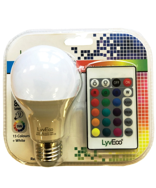 Lyveco Remote Controlled Colour Changing GLS Lamp - 9w ES